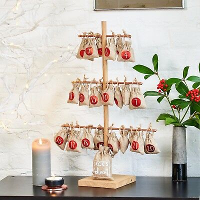Personalised Christmas Tree Advent Calendar With Metallic Hanging Sacks