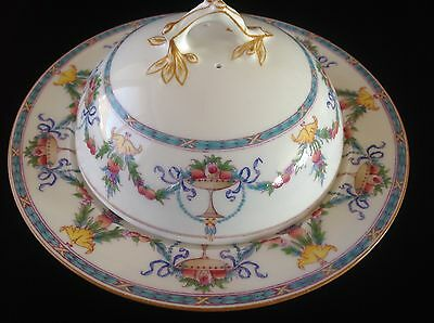 Vintage Minton Dome Covered Muffin Dish Butter Cheese~Turquoise Yellow Pink Swag