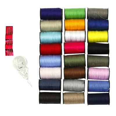 24 Spools Assorted Colors Sewing Threads Needles Thimble Sewing Tools Kit