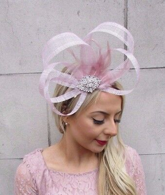 Soft Lilac Mauve Pink Silver Diamante Sinamay Feather Fascinator Races 4516