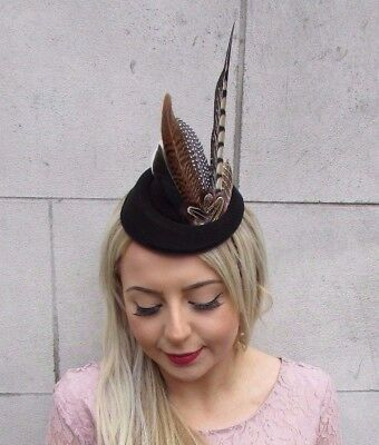 Black Blue Brown Pheasant Feather Pillbox Hat Hair Clip Fascinator Races 4519
