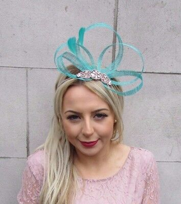 Rose Gold Sea Green Turquoise Feather Sinamay Fascinator Headband Silver 4522