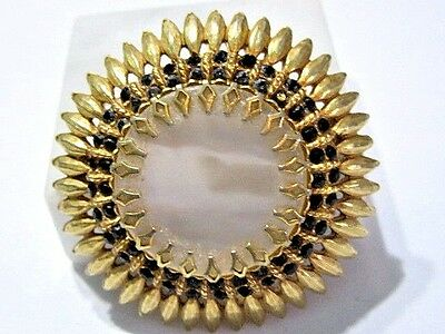 Pin Vintage Lucite Faux Mother Of Pearl And Black Rhinestone Sunflower Abstract