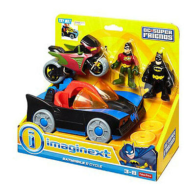 Imaginenext Batman Batmobile and Cycle Vehicle Playset-NIP
