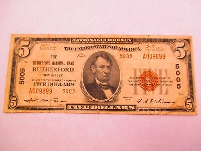 Rutherford, NJ  1929  $5 National Bank Note, Charter 5005 T-2
