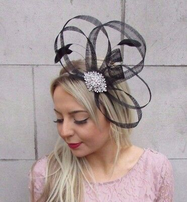 Black Silver Sinamay Feather Fascinator Races Cocktail Alice Band Headband 4527