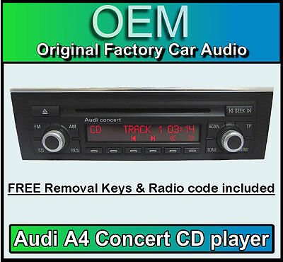 Audi A4 CD player, Audi Concert car stereo + radio code, removal keys CHROME