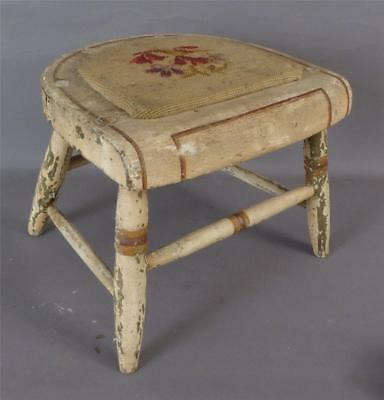 Antique Child's  Windsor Potty Chair With Needlepoint Cover