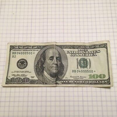 one hundred dollar bill 100 Star BB04000500* 1999 Federal Reserve Note USA
