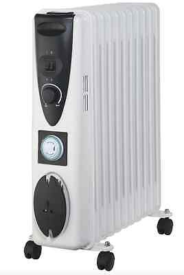 New Portable 11 Fin 2500w Electric OIL FILLED RADIATOR Heater 24hr Timer White