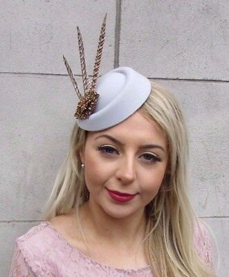 Grey Bronze Brown Pheasant Feather Pillbox Hat Hair Clip Fascinator Races 4534