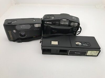 Lot Of 3 Cameras For Parts Not Work Vivitar 600 Polaroid Canon Sureshot Owl Date