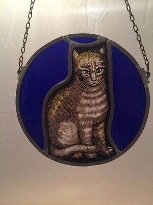 Stained Glass Hanging Cat Suncatcher Window Blue