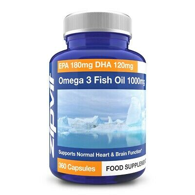 Omega 3 Capsules - 1000mg - Fish Oil - EPA 180mg DHA 120mg, By Zipvit