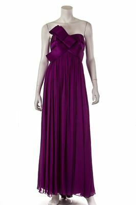 Notte by Marchesa silk chiffon and satin bow strapless gown Size M | US 8