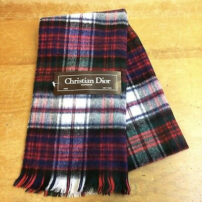 Christian Dior Monsieur Vintage 80s NOS Merino Wool Japan Mens Scarf
