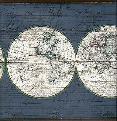 Old world map on blue wallpaper border 400 picclick old world map on blue wallpaper border freerunsca Gallery