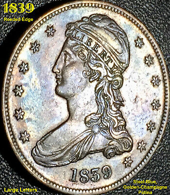 1839 Capped Bust Half Dollar - Reeded Edge - Large Letters  **au**