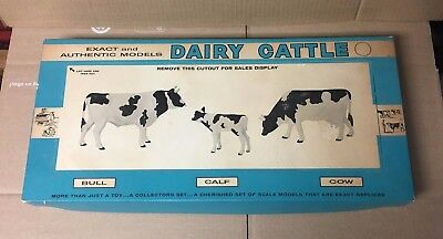 Vintage Hartland Dairy Cattle Set With Box - Includes Bull, Calf, Cow