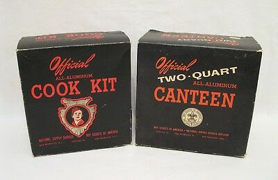 Vintage 1940's Boy Scout Canteen & Cook Kit Set Complete in Original Boxes
