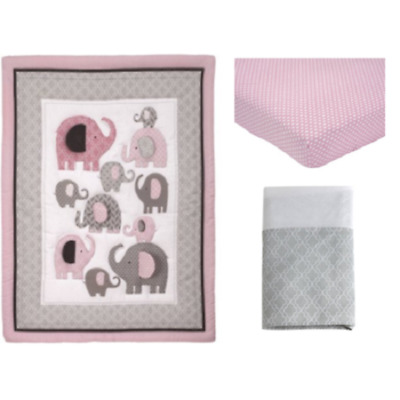 Little Bedding by NoJo 6056276 Elephant Time 3 Piece Crib Bedding Set Pink