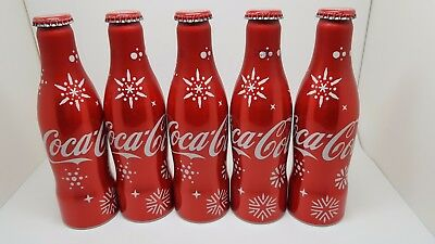 UAE 2016 Coca Cola Aluminum Bottles Empty Merry Christmas New Year 2017 Qty.5
