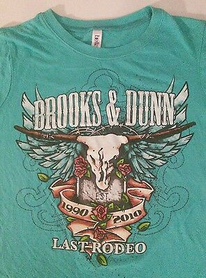 Brooks And Dunn Last Rodeo Tour 1990-2010 T-Shirt Country Aqua Jr. Large