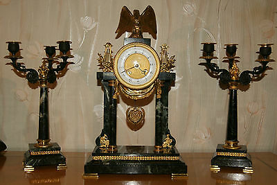 Antique French   Mantel Clock Garniture Set by Samuel Marti