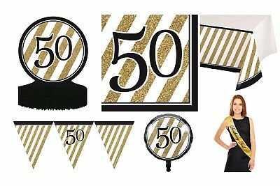 BLACK & GOLD Age 50/50th  Birthday Party Tableware,Decorations Black and Gold