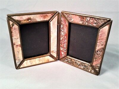 Vintage Antique Bi-Fold Brass and Stone Picture Frames.