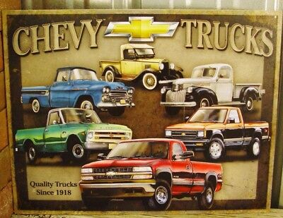 Chevy Truck Metal Tin Ad Sign Picture Silverado Vintage Pick Up Parts Shop Gift