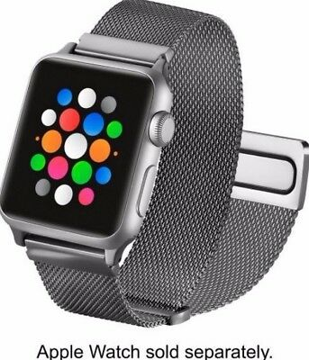 Platinum - Magnetic Stainless Steel Mesh Band for Apple Watch 38mm Silver