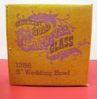 """1970s IRIDESIENT GOLD CARNIVAL GLASS 5"""" WEDDING BOWLS GOBLETS 1256 NEW OLD STOCK"""