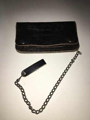 Vintage HARLEY DAVIDSON Motorcycles WALLET / CHAIN Black Leather 50s Early Biker