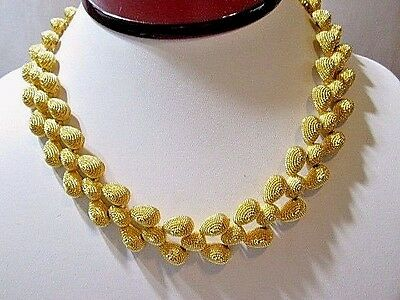 Hard Mesh Vintage Textured Gold Tone Plated Metal Necklace Designer Runway Pd