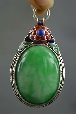 Collection Handwork Decor Miao Silver Carve Flower Inlay Jade Auspicious Pendant