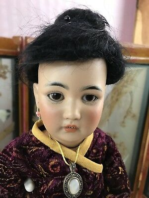 """Rare Antique 15"""" S & H #1329 German Bisque Oriental Asian Character Doll!"""