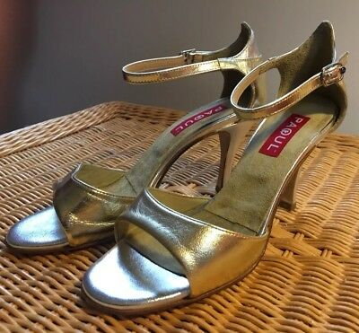 Paoul Argentine tango shoes. Like Comme il Faut. Silver/Gold leather. Size 38.