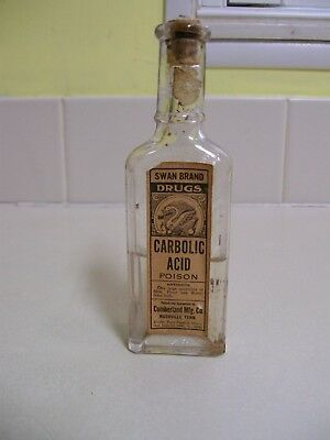 CARBOLIC Acid, Swan Brand Drugs , w/ label & contents,  Made in Nashville, Tenn