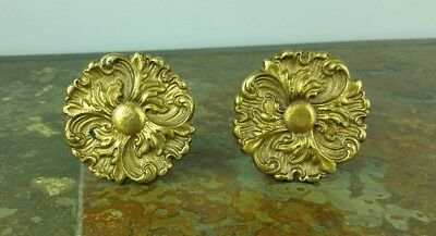 Set of 2 Antique Vintage Ornate Brass Desk Dresser Drawer Pull Knobs Handles