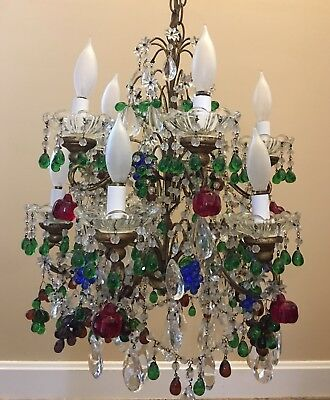 Antique Vintage Italian Murano Fruit Crystal Macaroni Beaded Chandelier