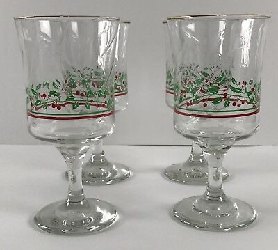 Vintage 1986 Arbys Christmas Holiday Holly Red Green Glass Vintage Wine Goblet