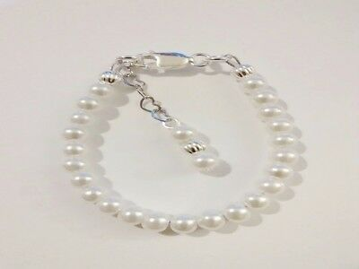 Newborn Baby Toddler Sterling Silver Filled White Pearl Bracelet