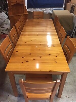 Ikea Solid Pine Dining Table 9 Chairs Corner Hutch