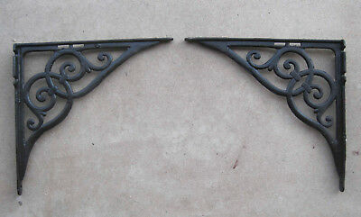 "Pair of Large , Antique , Cast Iron , Architectural Shelf Brackets , 15"" x 15"""