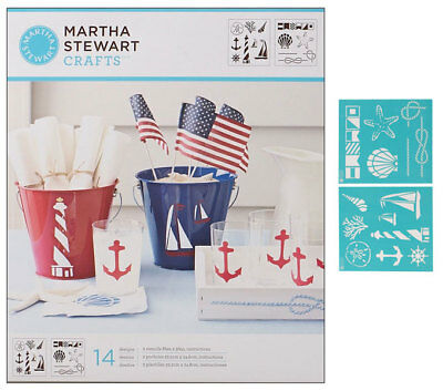 Martha Stewart Stencil Medium Nautical Study 2 Schablonen je 22x25 cm