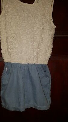girls candy couture jumpsuit 8-9. Denim style short with fancy top-hardly worn