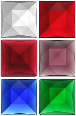 Square 30mm Faceted Glass Jewel - 8 Colors Available! - Stained Glass Projects