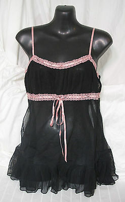 Victoria's Secret Black Sheer Pink Lace Sz S Small Teddie Cami Camisole Lingerie