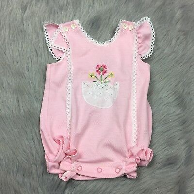 Vintage Carters Baby Girls Pink Floral Lace Ruffle Flutter Sleeve Romped Sunsuit